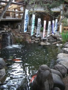 Fish pond inside 10,000 Waves resort and spa
